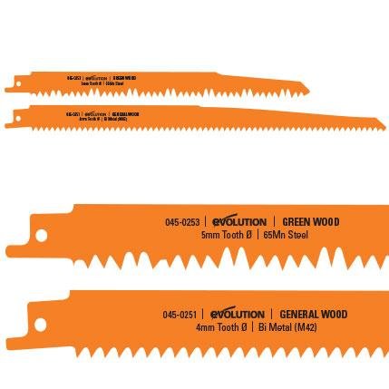 Evolution Reciprocating Saw Wood Cutting Blades (x2) - Evolution Power Tools UK