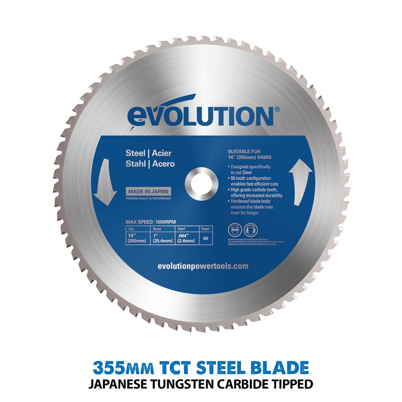 S355CPS - 355mm Chop Saw With Mild Steel Cutting TCT Blade - Evolution Power Tools