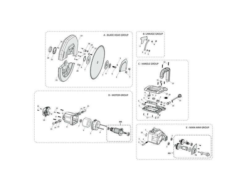 Evolution S355CPS Spares (Head Section) - Evolution Power Tools
