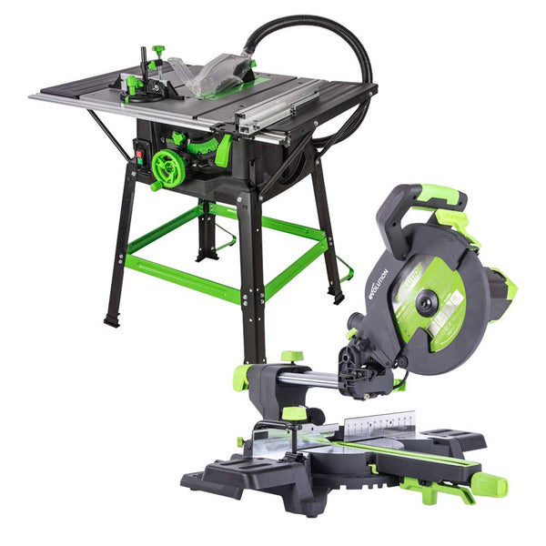 Save £100 mitre saw & table saw bundle (230v). Black Friday - Cyber Monday Deal. - Evolution Power Tools UK
