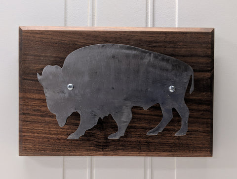 Silver Buffalo on Walnut Wall Hanger