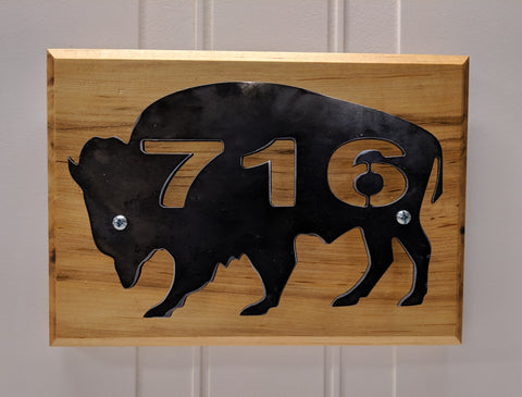 Blackened Steel With 716 on Maple Wall Hanger