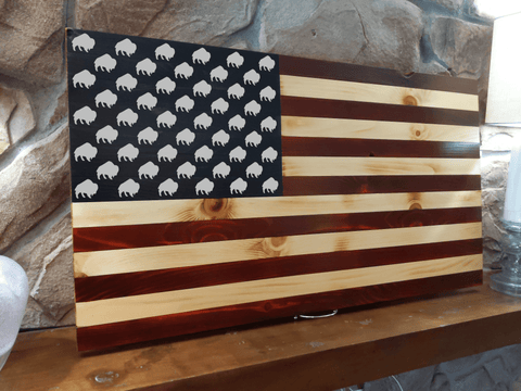 Standing Buffalo Wood Burned Flag