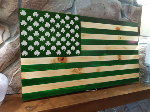 St. Paddy's Day Shamrock Wood Burned Flag