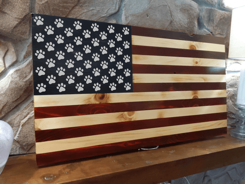 Paw Print Wood Burned Flag