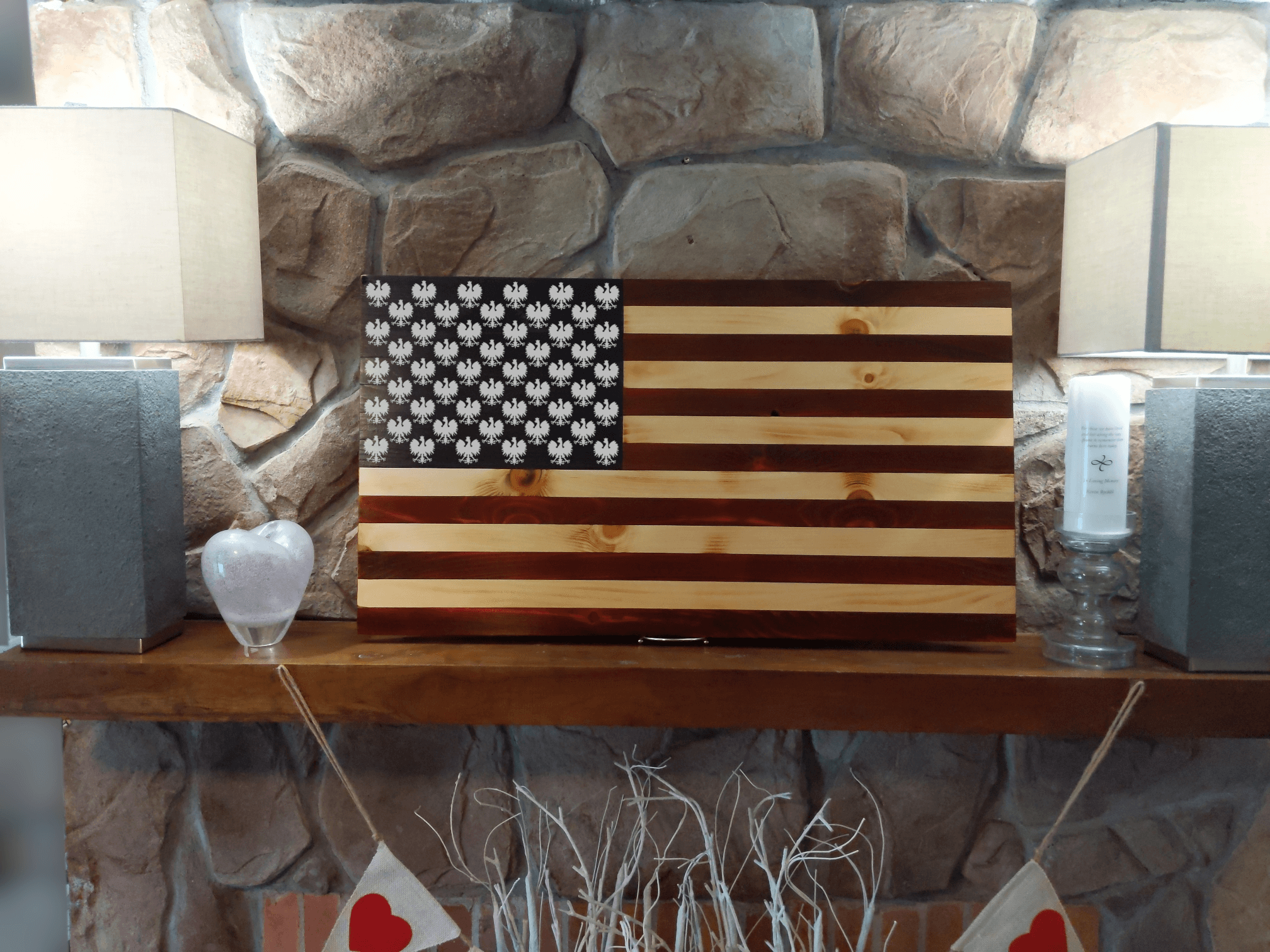 Polish Falcon Wood Burned Flag