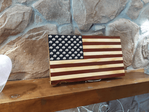 Open image in slideshow, Standing Buffalo Wood Burned Flag