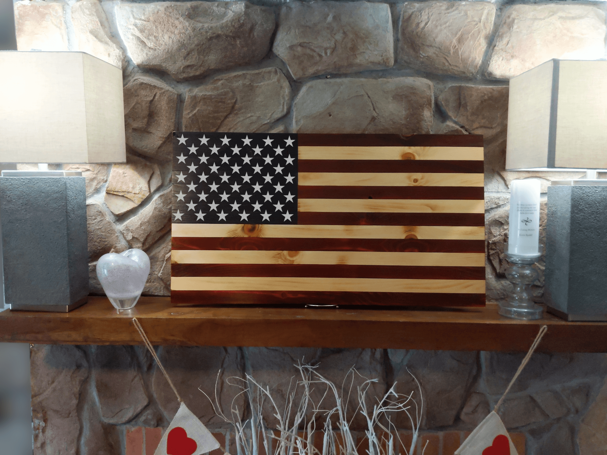 Stars and Stripes Wood Burned Flag