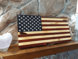 HUNT - Wood Burned Flag