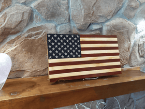 Open image in slideshow, Stars and Stripes Wood Burned Flag