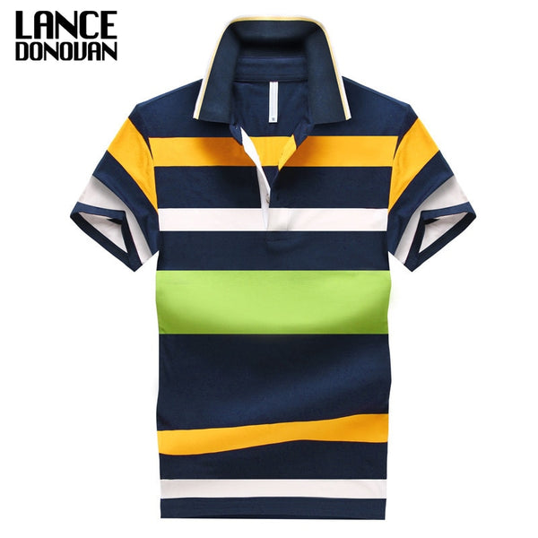92% Cotton camisa Men Polo Shirt Casual Striped Slim short sleeves ASIAN SIZE M-4XL - JustRed.co.uk