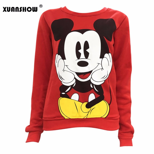 XUANSHOW 2018 Women Sweatshirts Hoodies Character Printed Casual Pullover Cute Jumpers Top Long Sleeve O-Neck Fleece Tops S-XXL - JustRed.co.uk