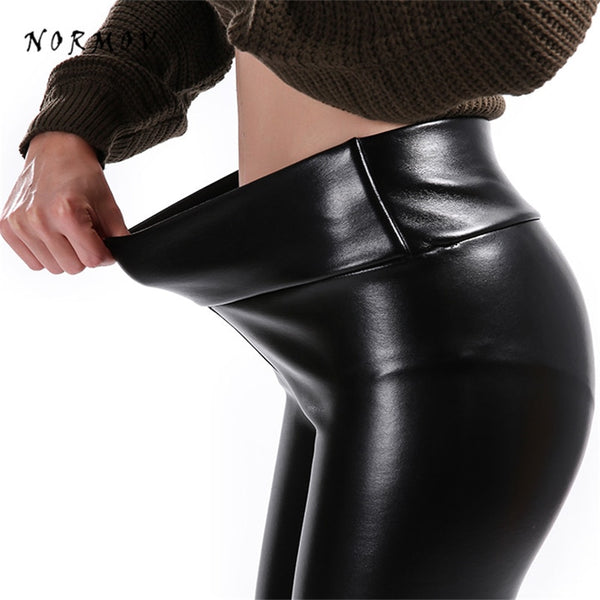 NORMOV S-5XL Women Faux Leather Leggings Winter Keep Warm High Waist Jegging Ankle-length Large Szie Plus velvet Female Legging - JustRed.co.uk