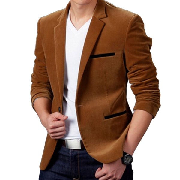 Luxury Men Blazer Spring Fashion High Quality Cotton Slim Fit Suit Terno Masculino - JustRed.co.uk