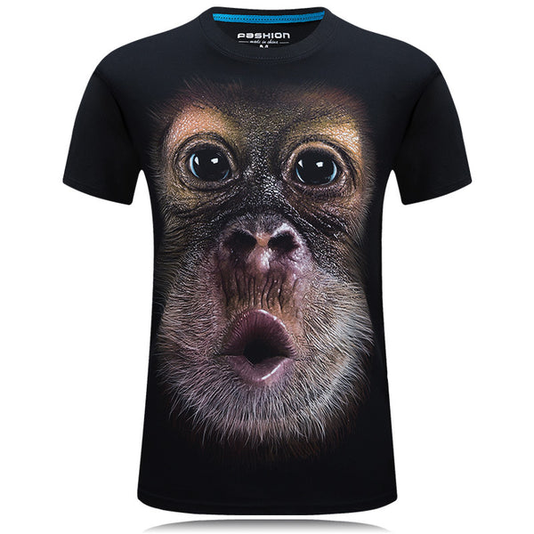 2018 summer Men's brand clothing O-Neck short sleeve animal T-shirt monkey/lion 3D Digital Printed T shirt Homme large size 5xl - JustRed.co.uk