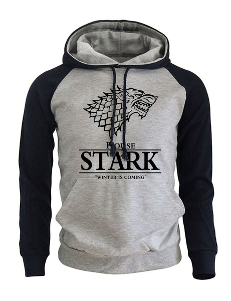 2018 Raglan Hoodies For Men House Stark The Song of Ice and Fire Winter Is Coming Men's Sportswear Game Of Thrones Sweatshirt - JustRed.co.uk