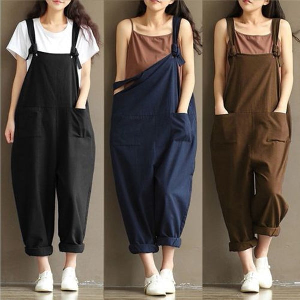 HOT Fashion Women Girls Loose Solid Jumpsuit Strap Dungaree Harem Trousers Ladies Overall Pants Casual Playsuits Plus Size M-3XL - JustRed.co.uk