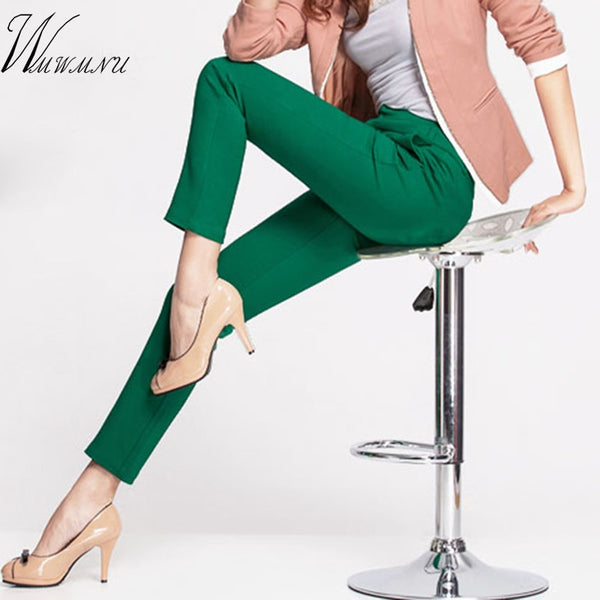 2018 NEW women's casual OL office Pencil Trousers Girls's cute 12 colour Slim Stretch Pants fashion Candy Jeans Pencil Trousers - JustRed.co.uk