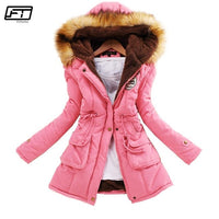 Fitaylor Winter Jacket Women Thick Warm Hooded Parka Mujer Cotton Padded Coat Long Paragraph Plus Size 3xl Slim Jacket Female - JustRed.co.uk