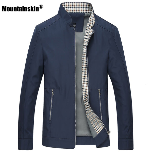 Mountainskin New Spring Autumn Men's Jackets Casual Coats Solid Color Mens Brand Clothing Stand Collar Male Bomber Jackets SA442 - JustRed.co.uk