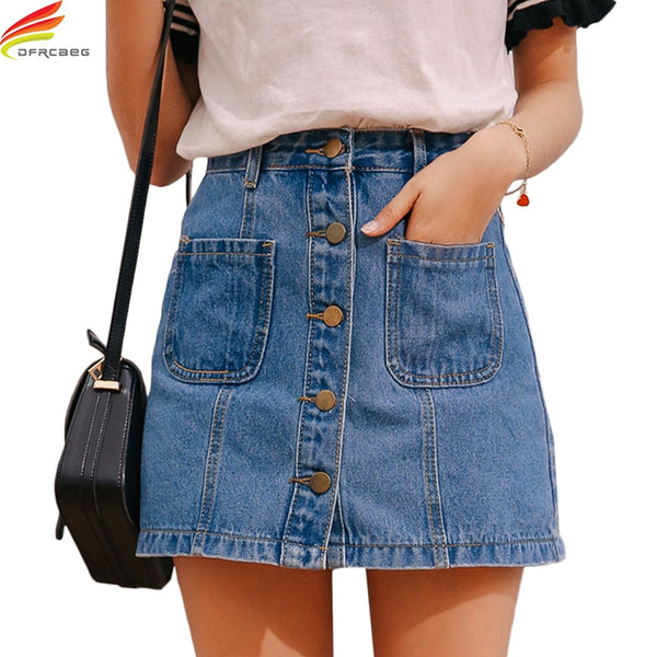Denim Skirt High Waist A-line Mini Skirts Women 2018 Summer New Arrivals Single Button Pockets Blue Jean Skirt Style Saia Jeans - JustRed.co.uk
