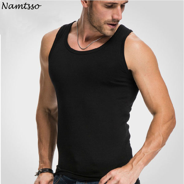 Men's Close-fitting Vest Fitness Elastic Casual O-neck Breathable H Type All Cotton Solid Undershirts Male Tanks - JustRed.co.uk