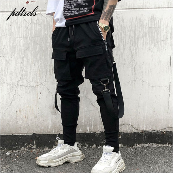 Men's Hip Hop Patchwork Cargo Ripped Sweatpants Joggers Trousers Fashion Full Length Pants - JustRed.co.uk