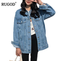 RUGOD Solid Turn-down Collar Jean Jacket for Women Loose Casual Blue Fashionable Women Coats Female outwear Denim Feminine - JustRed.co.uk