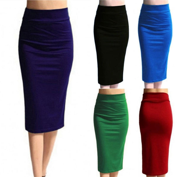 2018 New Women Skirt Mini Bodycon Skirt Office Women Slim Knee Length High Waist Stretch Sexy Pencil Skirts Jupe Femme AQ801944 - JustRed.co.uk