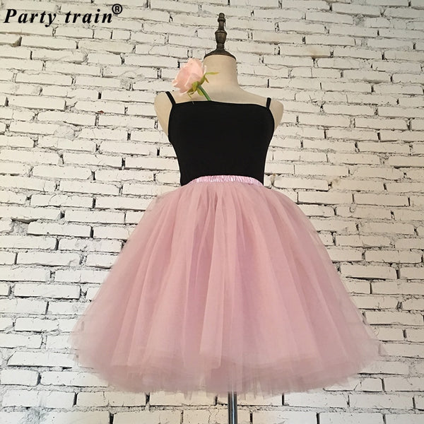 Skirts Womens 7 Layers Midi Tulle Fashion Tutu Ball Gown Party Petticoat Lolita Faldas Saia - JustRed.co.uk