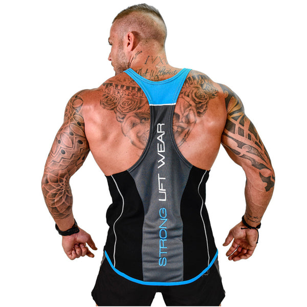 2018 New Men Tank top Gyms Workout Fitness Bodybuilding sleeveless shirt Male Cotton clothing Casual Singlet vest Undershirt - JustRed.co.uk