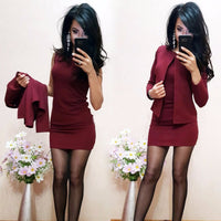 Fashion Autumn Suits Sheath O-Neck Above Knee Mini Dress Full Sleeve Casual Coat Two Pieces Women - JustRed.co.uk