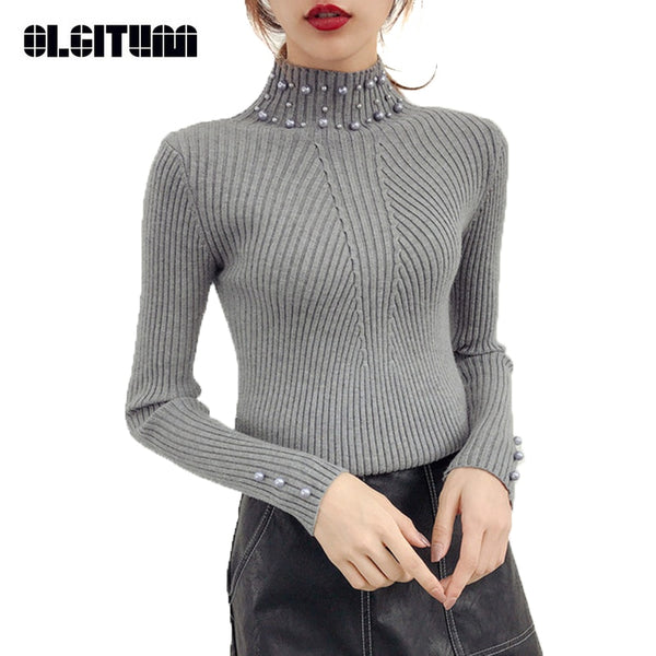 Autumn & Winter Women Pearl Beaded Sweater O-Neck Long Sleeve Slim Knit Sweater and Pullover - JustRed.co.uk