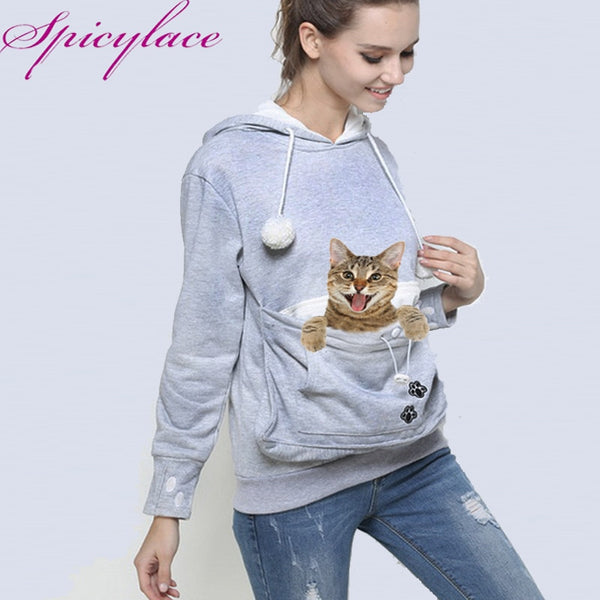 Cat Lovers Hoodie Kangaroo Dog Pet Paw Pullovers Cuddle Pouch Sweatshirt Pocket Animal Ear Hooded - JustRed.co.uk