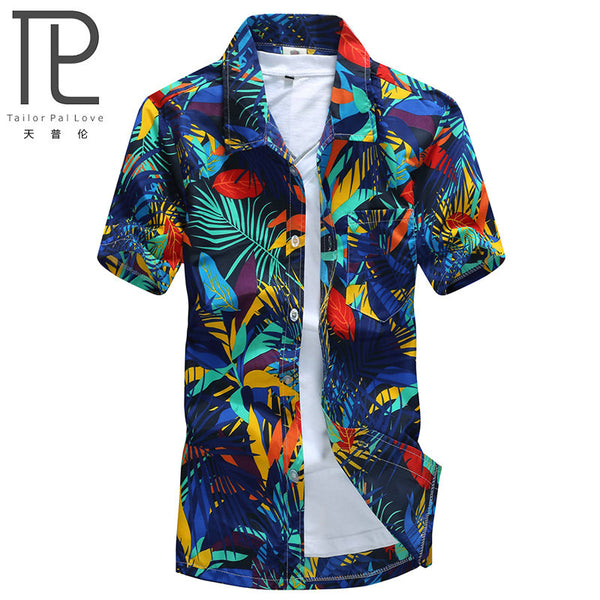 Mens Hawaiian Shirt Casual camisa masculina Printed Beach Shirts Short Sleeve Asian Size 5XL - JustRed.co.uk