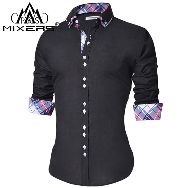 Men's Casual Slim Fit Button Down Shirt Long Sleeve Formal Camisa - JustRed.co.uk