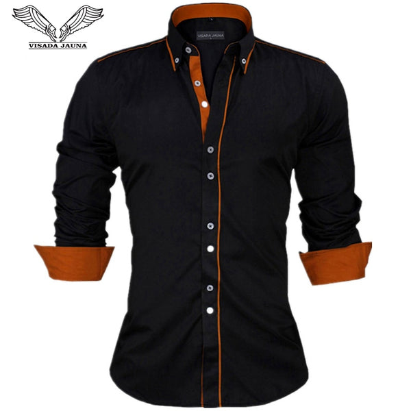 VISADA JAUNA Men Shirts Europe Size Slim Fit Male Shirt Long Sleeve British Style Cotton Shirt - JustRed.co.uk
