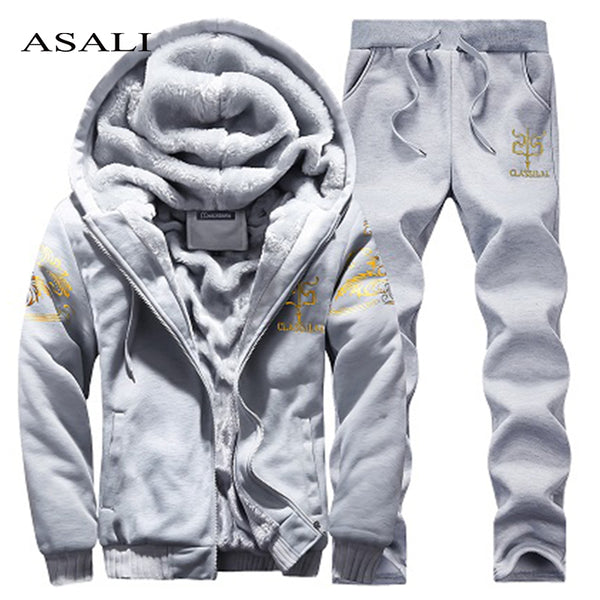 Sportswear Mens Set Winter Casual Tracksuit Men Hoodies Sets Brand Men Clothes 2 PCS Warm Thick Sweatshirt+Pants Track Suit Male - JustRed.co.uk