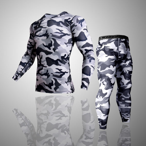 2 Piece Tracksuit Men Compression MMA Long sleeve t shirt Rashgard kit Camouflage  Sweatshirt+leggings Fitness Thermal underwear - JustRed.co.uk
