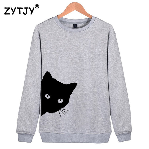 Cat Looking Out Side Print Women Sweatshirts Casual Hoodies Funny Hipster Jumper - JustRed.co.uk