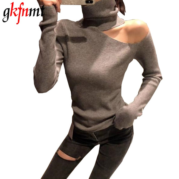 Knitted Sweater Off Shoulder Pullovers Sweater for Women Long Sleeve Turtleneck Female Jumper Black White Gray Sexy Clothing - JustRed.co.uk