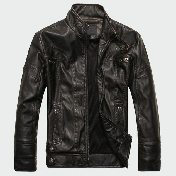 Mens Leather Jackets High Quality Classic Motorcycle Bike Cowboy Velvet Thick Coats 5XL - JustRed.co.uk