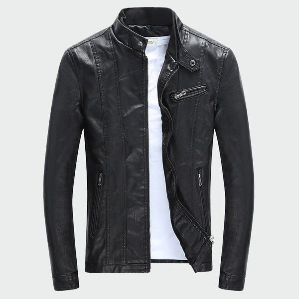 Men's PU Jackets Coats Autumn Winter Motorcycle Biker Faux Leather Clothes Thick Velvet Coats M-3XL - JustRed.co.uk