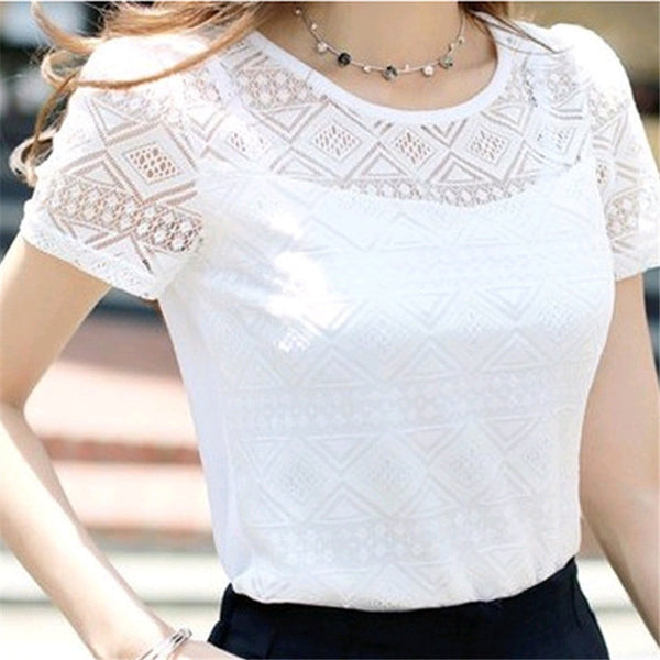 Jeseca New Women Clothing Chiffon Blouse Lace Crochet Female Korean Shirts Ladies Blusas Tops Shirt White Blouses slim fit Tops - JustRed.co.uk