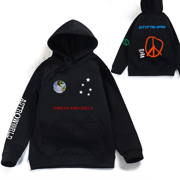 Astroworld THRILLS AND CHILLS Hoodies Spring Autumn Streetwear Pullover Travis Scotts Young Men Women FashionHip Hop Printing - JustRed.co.uk