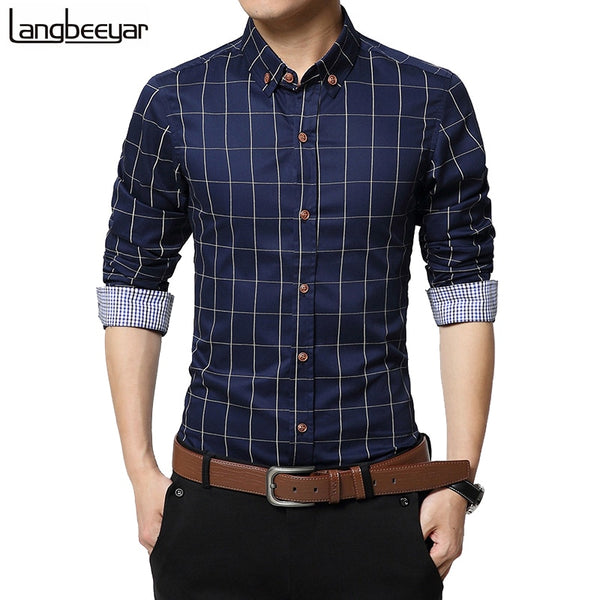 Autumn Fashion Men Clothes Slim Fit Long Sleeve Shirt Plaid Cotton Casual Social Plus Size M-5XL - JustRed.co.uk