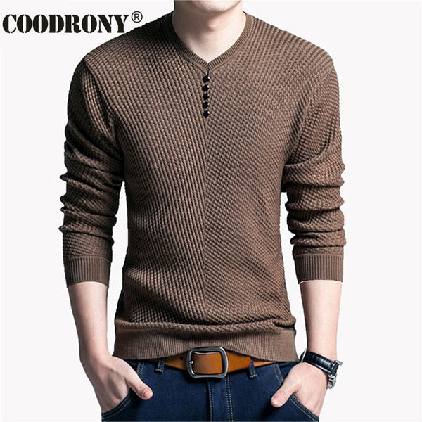 COODRONY Sweater Men Casual V-Neck Pullover Men Autumn Slim Fit Long Sleeve Shirt Mens Sweaters Knitted Cashmere Wool Pull Homme - JustRed.co.uk