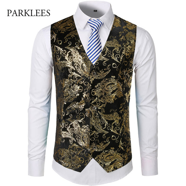 Gold Steampunk Vest Men Suit Wedding Sleeveless Slim Fit Paisley Floral Single Buttons Waistcoat - JustRed.co.uk