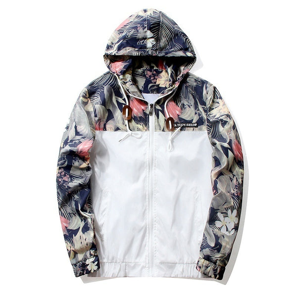Floral Jacket Autumn Men's Hooded Jackets Slim Fit Long Sleeve Trendy Windbreaker Coat - JustRed.co.uk