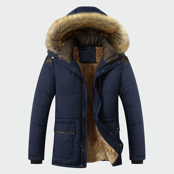 Winter Jacket Men Fashion Casual Slim Thick Warm Coats Parkas With Hooded Long Overcoats Clothes - JustRed.co.uk